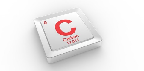 C symbol 6 for Carbon chemical element of the periodic table