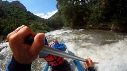 Baraka down river. Rafting as extreme and fun sport
