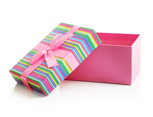 Pink gift box isolated