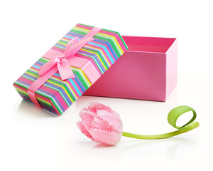 Pink tulips bouquet and present box