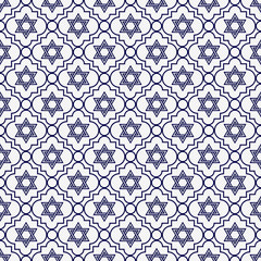 Navy Blue and White Star of David Repeat Pattern Background