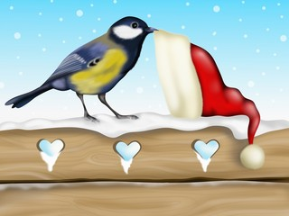 tit with hat of Santa Claus