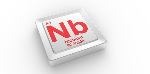 Nb symbol 41 for Niobium chemical element of the periodic table