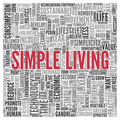 SIMPLE LIVING Concept in Word Tag Cloud Design