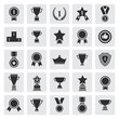 Big set of black vector award success and victory icons - 74195314