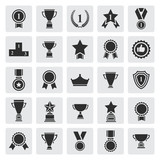 Big set of black vector award success and victory icons