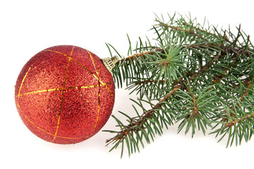 ball for scenery and branch of fir-tree