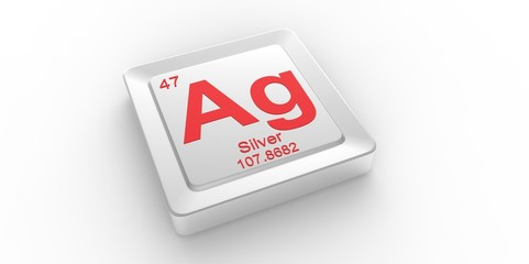 Ag symbol 47 for Silver chemical element of the periodic table