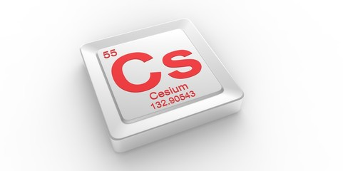 Cs symbol 55 for Cesium chemical element of the periodic table