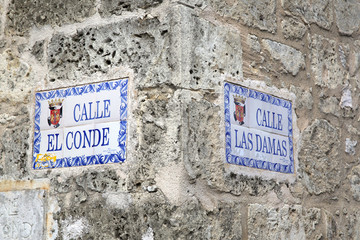 Street names in old Santo Domingo, Dominican Republic