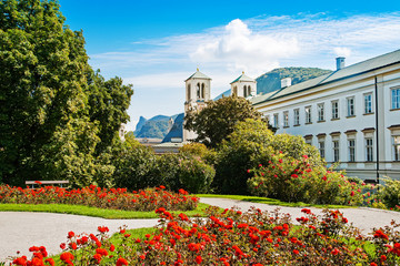 Church of Holy Andrew and Mirabell gardens in Salzburg, Austria