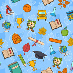Seamless pattern back to school on blue background