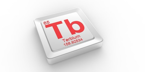 Tb symbol 65 for Terbium chemical element of the periodic table