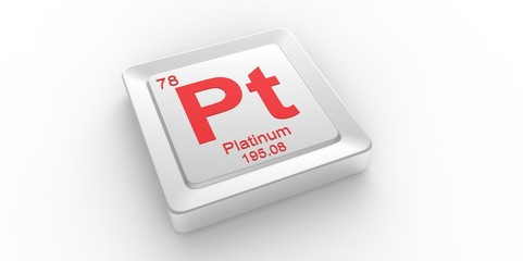 Pt symbol 78 for Platinum chemical element of the periodic table