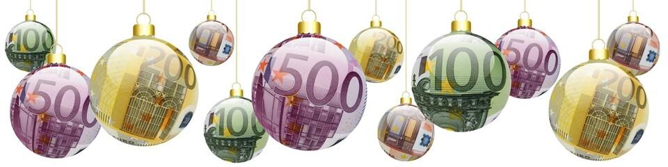 Bannière boules de noël 50, 100, 200, 500 €