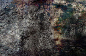 Abstract grunge background in gray, brown and green tones.
