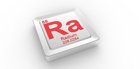 Ra symbol 88 for Radium chemical element of the periodic table
