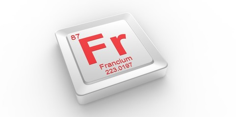 Fr symbol 87 for Francium chemical element of the periodic table