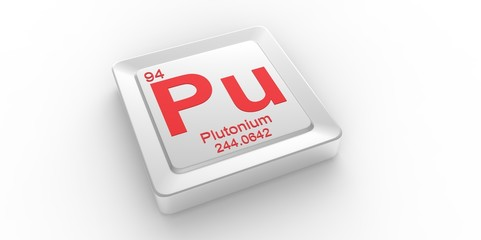 Pu symbol 94 for Plutonium chemical elem of the periodic table