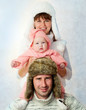 happy family in a warm fur hat. winter season.