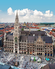 Aerial view of Marienplatz in Munich, Bavaria, Germany