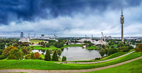 Olympic park in rainy weather, Munich, Germany