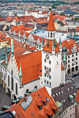Aerial view of old city hallin Munich, Bavaria, Germany