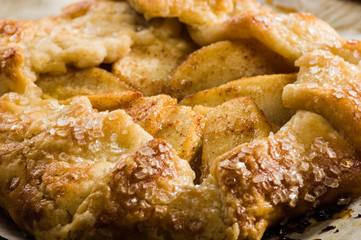 Warm apple tart close up