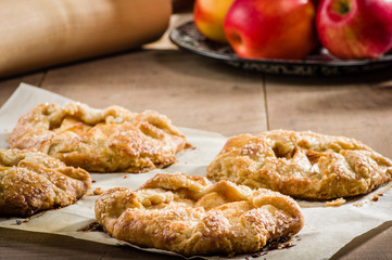 Parchment paper with apple tarts