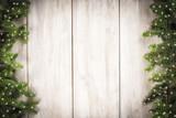 Fototapety Fondo de Navidad con decoración de abeto y espacio para texto