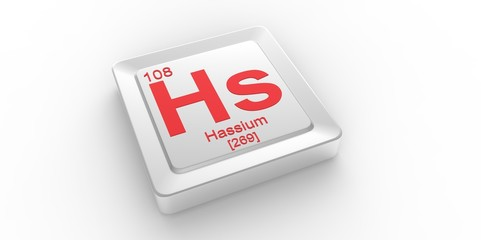 Hs symbol 108 for Hassium chemical element of the periodic table