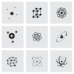 Vector black atom icon set