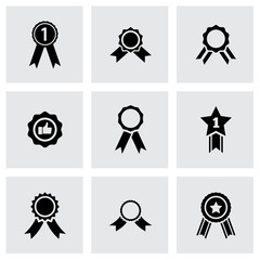 Vector black award medal icon set