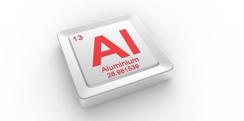 Al symbol 13 for Aluminium chemical elem of the periodic table