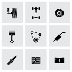 Vector black car parts icon set
