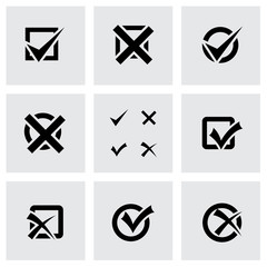 Vector black check marks icon set