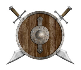 old wooden shield and two crossed sabers isolated