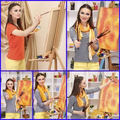 Artist's studio collage