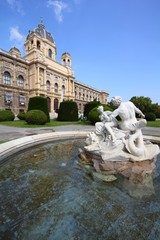 Vienna museum and fountain