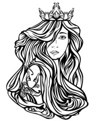 beautiful queen with long hair