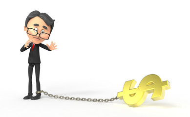 3d business man dragging a dollar sign