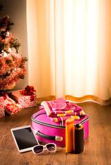 Christmas sun holidays with tablet