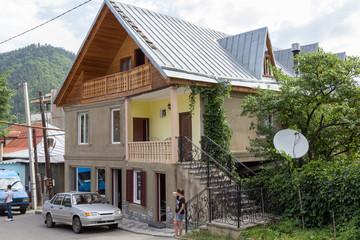 Typical Georgian house on a sun day