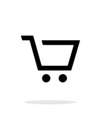 Empty supermarket shopping cart simple icon on white background.