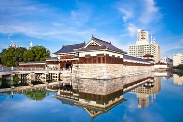Entrance at Hiroshima castle . Hiroshima, Japan.