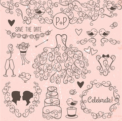 Hand Drawn Doodle Style Wedding Vector Set with Dress, Tuxedo an