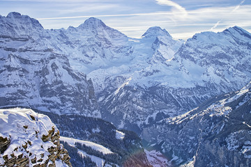 Swiss alpine peaks ridge at Jungfrau region  in winter
