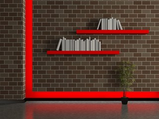 Modern house interior, dark brick wall with book shelves
