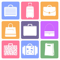 Bags icons, flat design vector