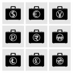 Briefcase icons with currency symbols